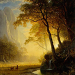 Painting of a sunset, trees, and mountains