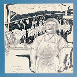 Pencil-drawn image of butcher in a shop